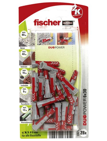 FISCHER Dübel, DUOPOWER, 28 Stück, 6 x 30 mm