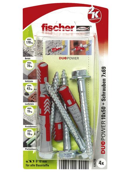FISCHER Dübel, DUOPOWER, 4 Stück, 10 x 50 mm