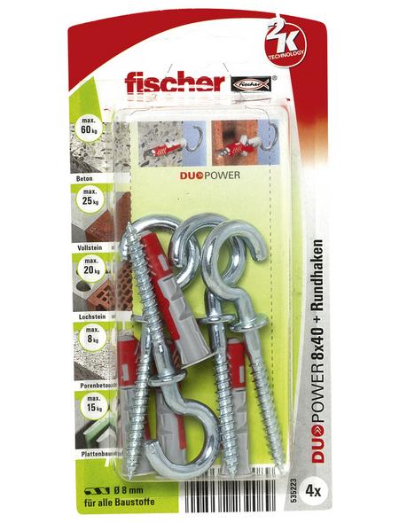 FISCHER Dübel, DUOPOWER, 4 Stück, 8 x 40 mm