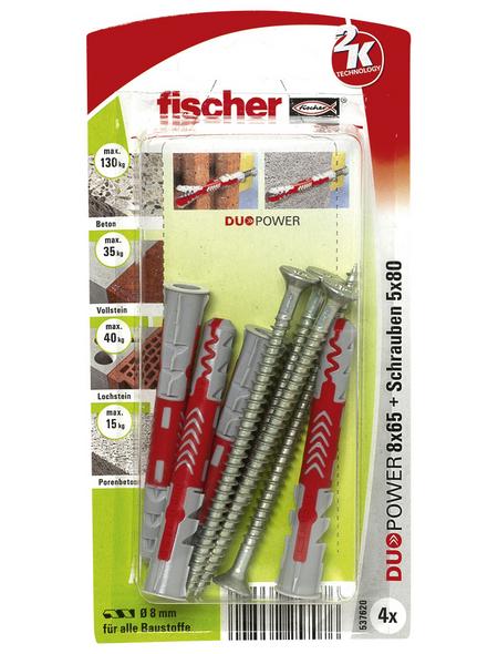 FISCHER Dübel, DUOPOWER, 4 Stück, 8 x 65 mm