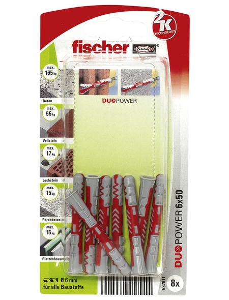 FISCHER Dübel, DUOPOWER, 8 Stück, 6 x 50 mm