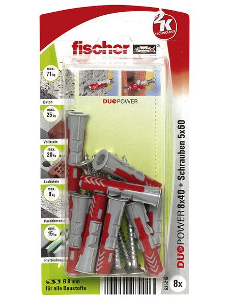 FISCHER Dübel, DUOPOWER, 8 Stück, 8 x 40 mm
