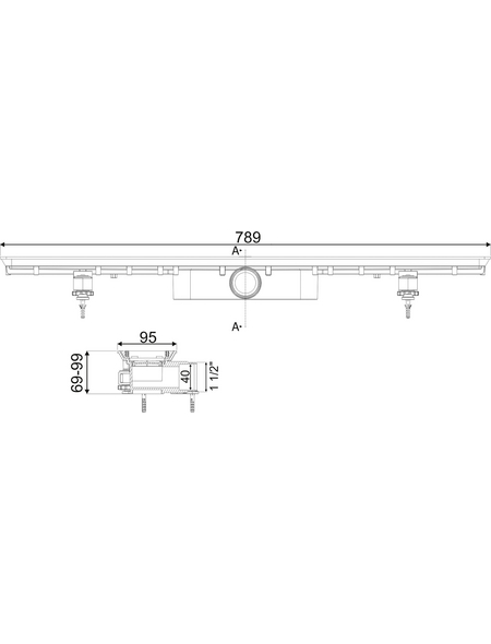 CORNAT Duschrinne, LxB: 75 x 5 cm