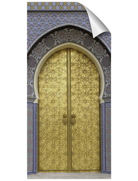 mySPOTTI Duschrückwand-Panel, fresh, Tür   Metalloptik, 210x100 cm
