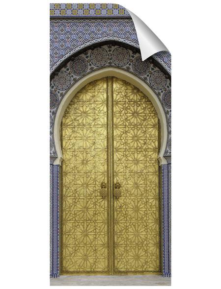 mySPOTTI Duschrückwand-Panel, fresh, Tür | Metalloptik, 210x90 cm