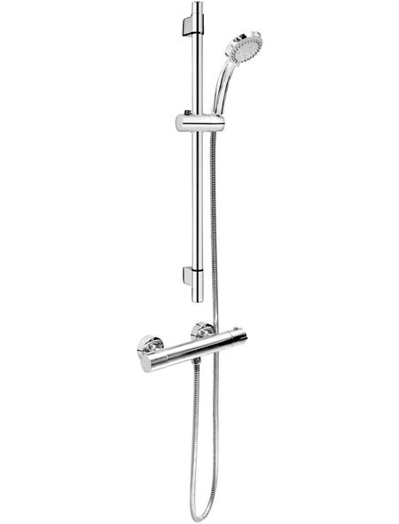 CORNAT Duschsystem mit Thermostat »FIT«, Höhe: 65 cm, verchromt/grau