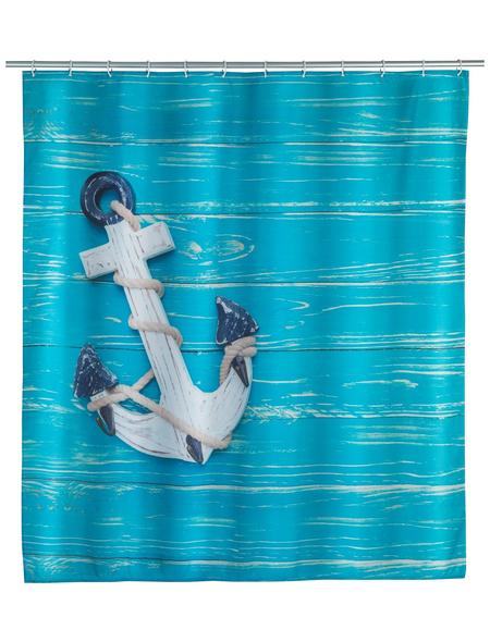 WENKO Duschvorhang »Aboard «, BxH: 180 x 200 cm, Schiffsanker, mehrfarbig