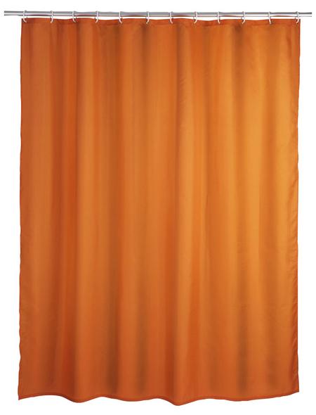 WENKO Duschvorhang »Anti-Schimmel«, BxH: 180 x 200 cm, Uni, orange