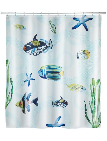 WENKO Duschvorhang »Aquaria«, BxH: 180 x 200 cm, Fische/Seestern/Algen, mehrfarbig