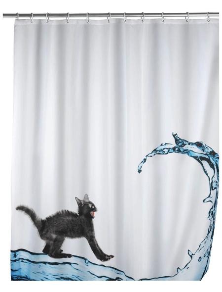 WENKO Duschvorhang »Cat«, BxH: 180 x 200 cm, Katze, mehrfarbig
