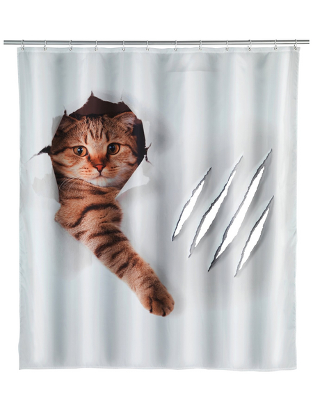 WENKO Duschvorhang »Cute Cat«, BxH: 180 x 200 cm, Katze, mehrfarbig