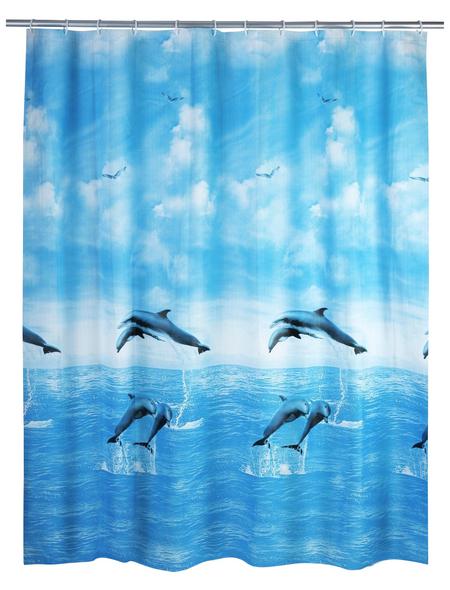 WENKO Duschvorhang »Dolphin«, BxH: 180 x 200 cm, Delfin, mehrfarbig