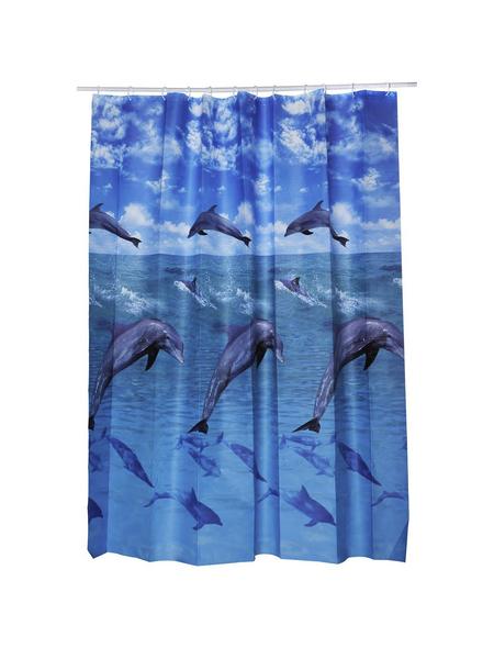 KLEINE WOLKE Duschvorhang »Dolphin«, BxH: 180 x 200 cm, Tiere, weiß/blau
