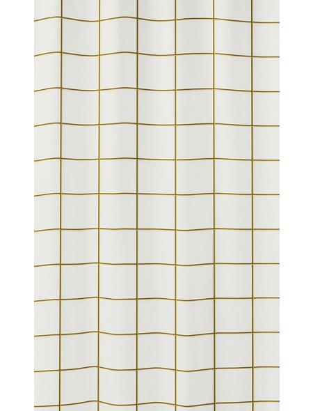 KLEINE WOLKE Duschvorhang »Grid«, BxH: 180 x 200 cm, Streifen, goldfarben/schwarz