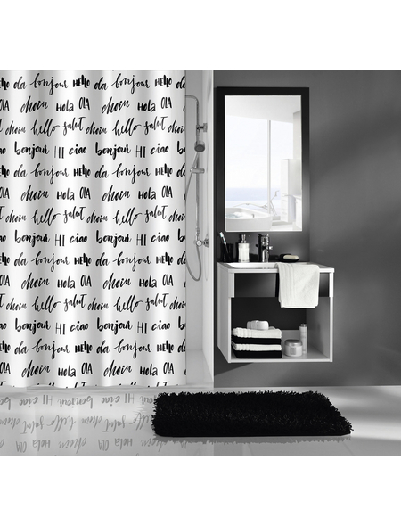 KLEINE WOLKE Duschvorhang »Hello«, BxH: 180 x 200 cm, Schriftzug, weiß/schwarz