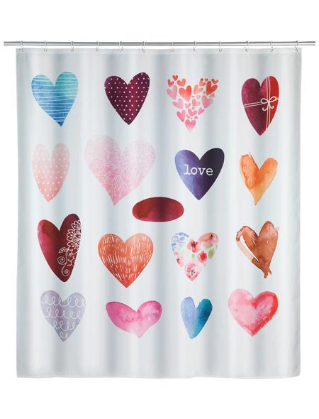 WENKO Duschvorhang »Love«, BxH: 180 x 200 cm, Herzen, mehrfarbig