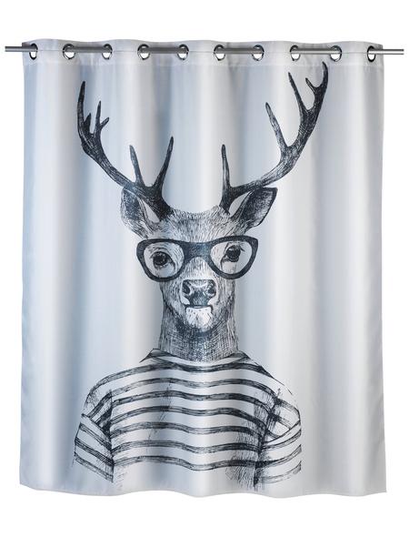 WENKO Duschvorhang »Mr. Deer Flex«, BxH: 180 x 200 cm, Hirsch, weiß/schwarz