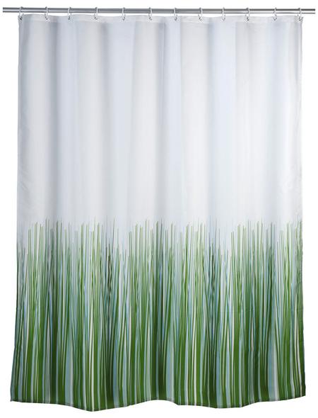 WENKO Duschvorhang »Nature«, BxH: 180 x 200 cm, Gras, grün/weiß