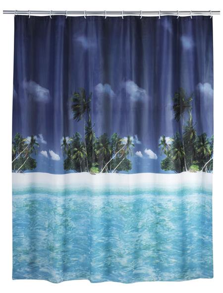WENKO Duschvorhang »Palmenstrand«, BxH: 180 x 200 cm, Strand, mehrfarbig