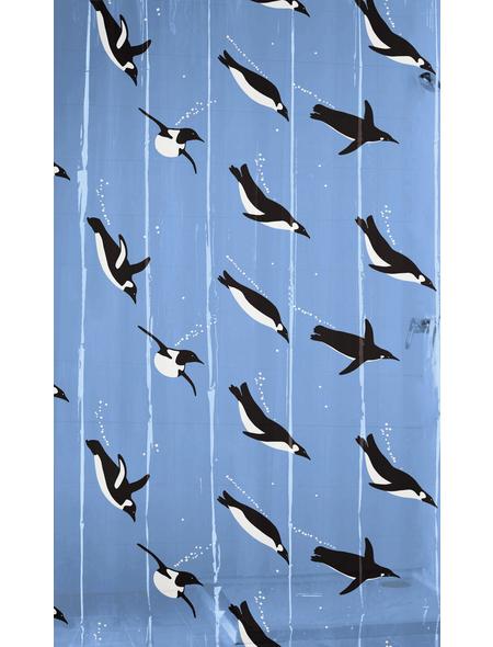 KLEINE WOLKE Duschvorhang »Pinguin«, BxH: 180 x 200 cm, Pinguin, blau