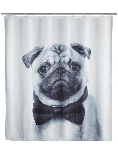 WENKO Duschvorhang »Pugy«, BxH: 180 x 200 cm, Hund, mehrfarbig