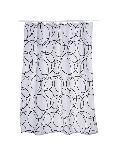 KLEINE WOLKE Duschvorhang »Rings«, BxH: 180 x 200 cm, Kreise, weiß/schwarz