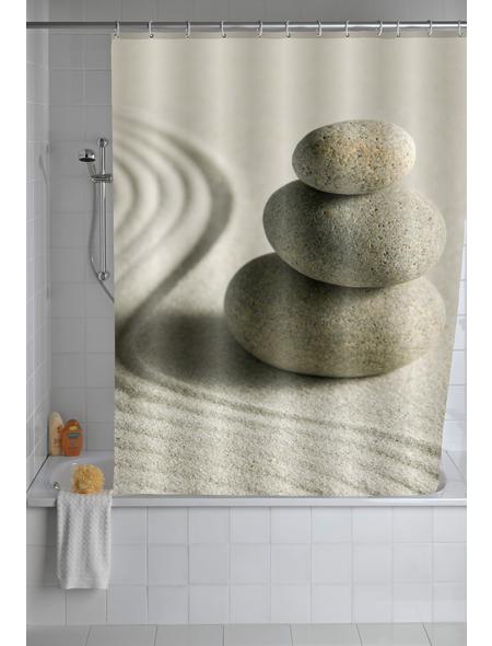 WENKO Duschvorhang »Sand and Stone«, B x H: 180 x 200 cm, steine/sand