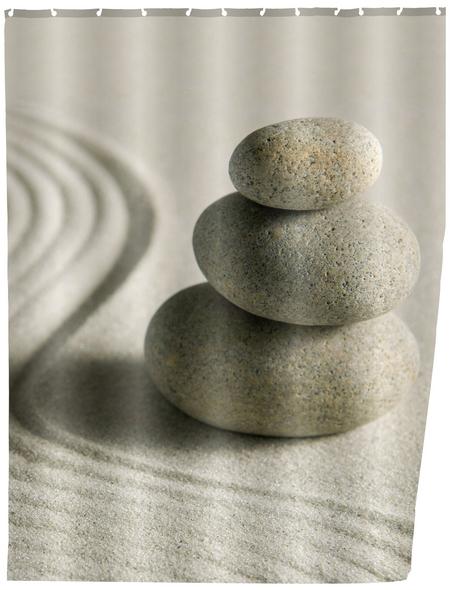 WENKO Duschvorhang »Sand and Stone«, BxH: 180 x 200 cm, Sand/Steine, beige