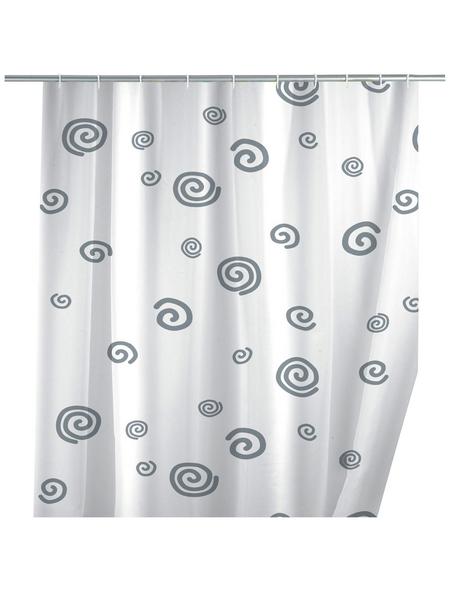 WENKO Duschvorhang »Schnecke«, BxH: 180 x 200 cm, Schnecke, weiß