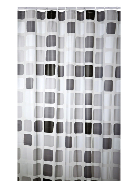 KLEINE WOLKE Duschvorhang »Sonny«, BxH: 180 x 200 cm, Quadrate, anthrazit