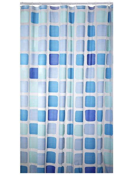 KLEINE WOLKE Duschvorhang »Sonny«, BxH: 180 x 200 cm, Quadrate, blau
