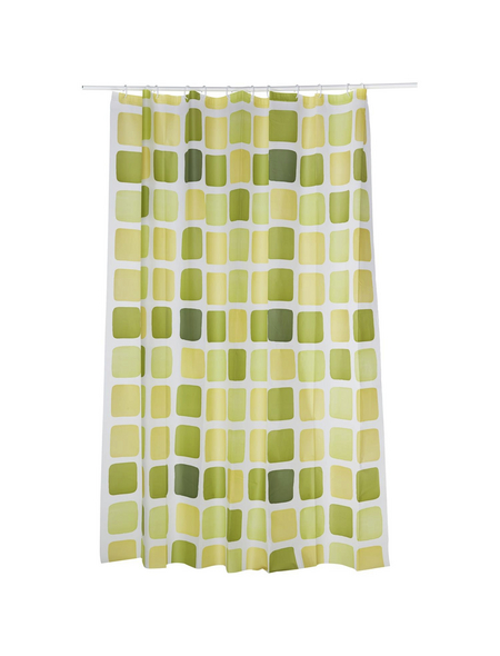 KLEINE WOLKE Duschvorhang »Sonny«, BxH: 180 x 200 cm, Quadrate, grün