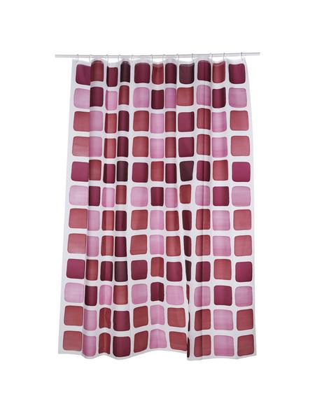 KLEINE WOLKE Duschvorhang »Sonny«, BxH: 180 x 200 cm, Quadrate, rubinrot