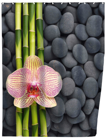 WENKO Duschvorhang »Spa«, BxH: 180 x 200 cm, Steine/Bambus, rosa/grün/grau