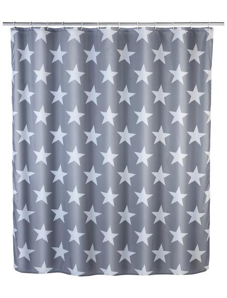 WENKO Duschvorhang »Stella«, BxH: 180 x 200 cm, Sterne, grau/weiß