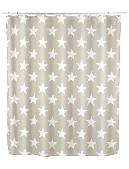 WENKO Duschvorhang »Stella«, BxH: 180 x 200 cm, Sterne, taupe