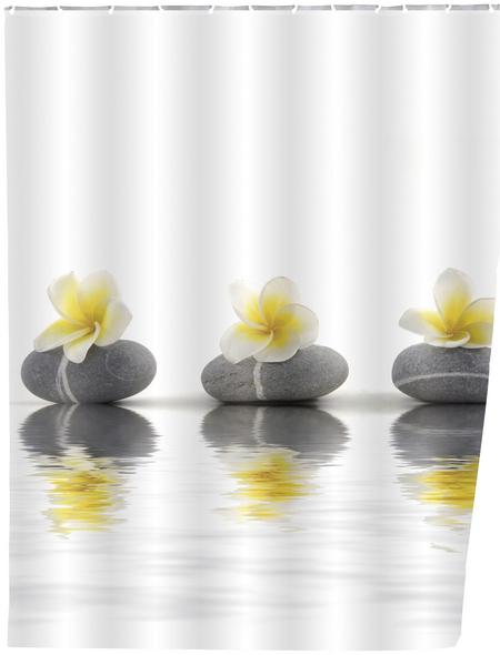 WENKO Duschvorhang »Stones with Flower«, BxH: 180 x 200 cm, Steine/Blumen, mehrfarbig