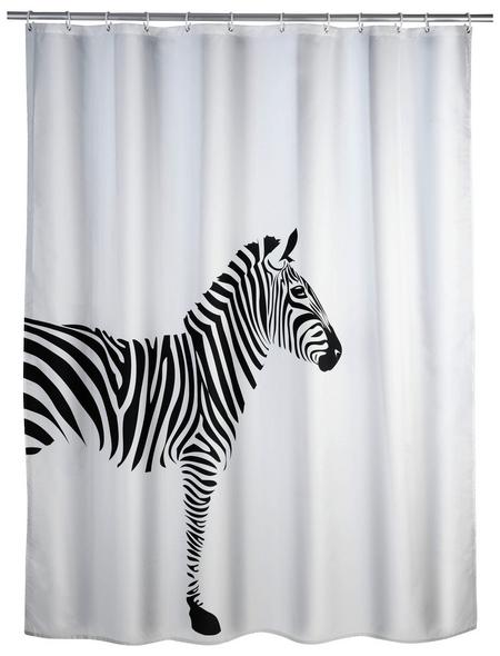 WENKO Duschvorhang »Wild«, BxH: 180 x 200 cm, Zebra, weiß