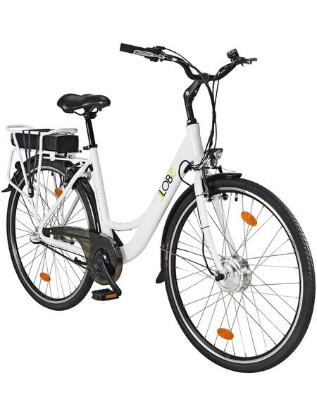 """LLOBE E-Bike City Damen Weiß 28 """", 3-gang, 10.4ah"""