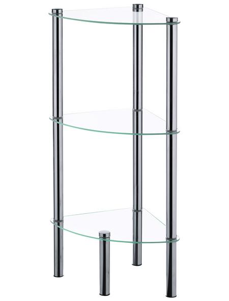 KELA Eckregal, Ole, 3 Etagen, Metall | Glas, Silber