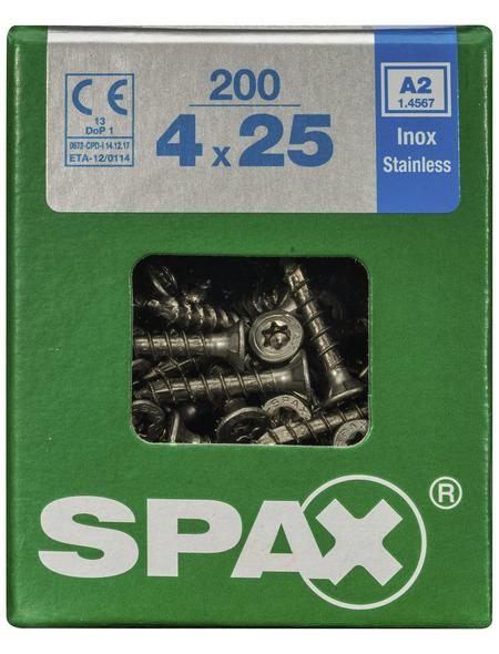 SPAX Edelstahlschraube, 4 mm, Edelstahl rostfrei, 200 Stk., TRX A2 4x25 L