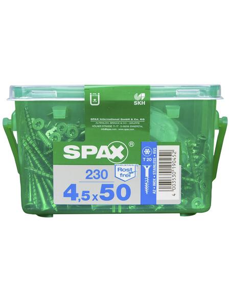 SPAX Edelstahlschraube, T-STAR plus, T20, Edelstahl, 230 Stück, 4.5 x 50 mm