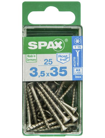 SPAX Edelstahlschraube, T15, Edelstahl, 25 Stück, 3.5 x 35 mm