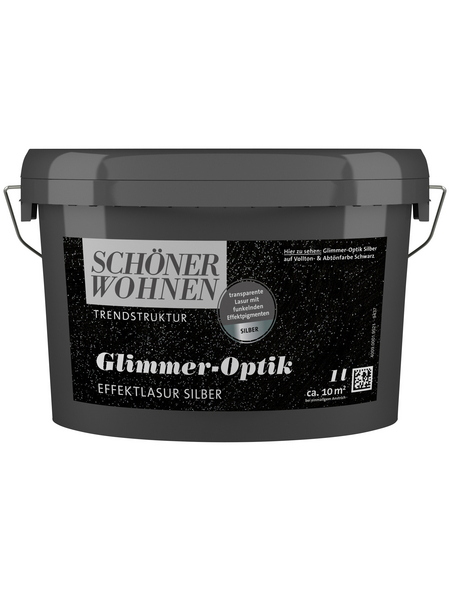 SCHÖNER WOHNEN FARBE Effektlasur »Trendstruktur«, in Glimmer-Optik, silberfarben, 1 l