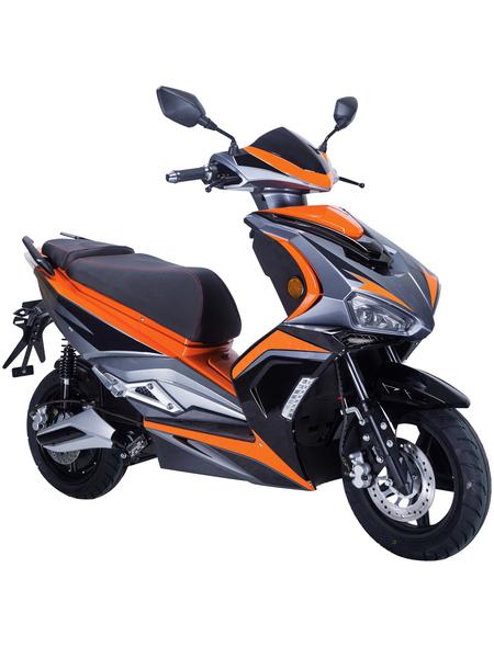 GT UNION Elektroroller »eStriker«, max. 45 km/h, Reichweite: 70 km, schwarz/orange