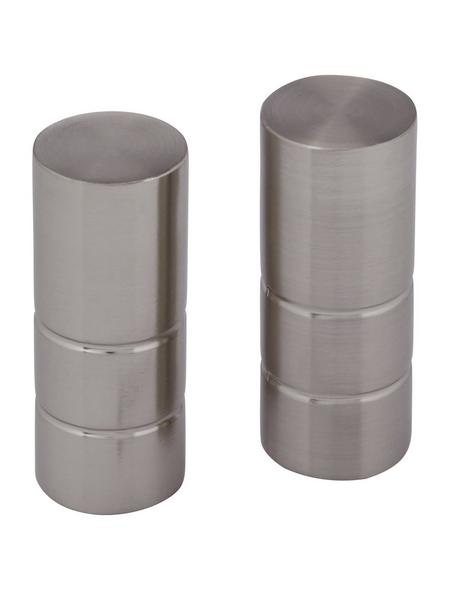 GARDINIA Endknopf, Ally, Zylinder, 19 mm, 2 Stück, Silber