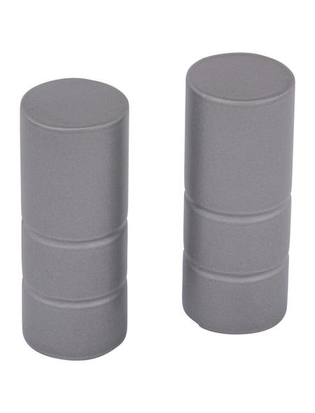 GARDINIA Endknopf, Ally, Zylinder, 19 mm, 2 Stück, Silber satin