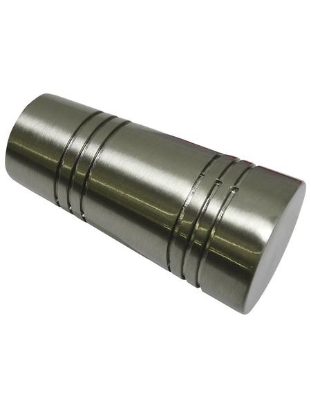 GARDINIA Endknopf Apollo, Chicago, Zylinder, 2 Stück, Silber