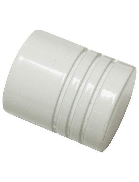GARDINIA Endknopf, Chicago, Zylinder, 20 mm, 2 Stück, Weiß