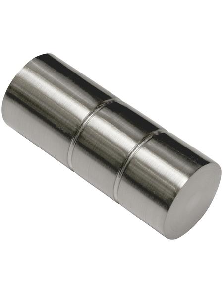 GARDINIA Endknopf, Windsor, Zylinder, 25 mm, 2 Stück, Silber